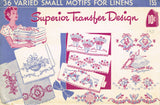 1940s Vintage Superior Embroidery Transfer 155 Uncut 36 Small Mixed Motifs