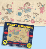 1950s Color Vintage Vogart Textilprint 402 Knitting Kitties  Uncut No Sew Transfer