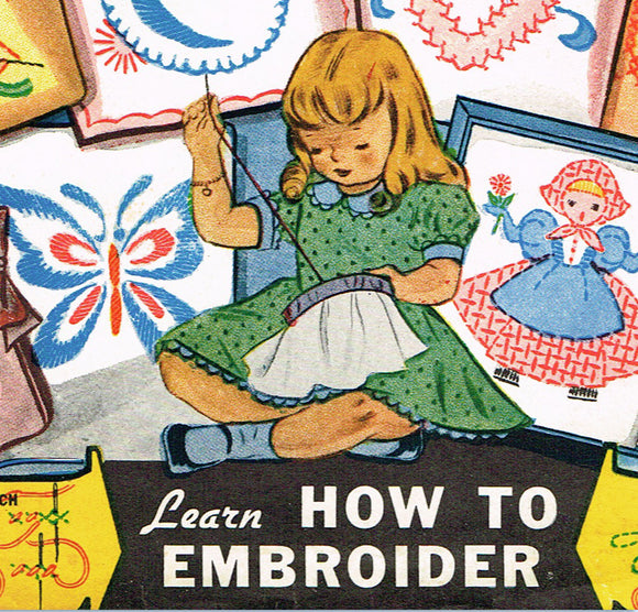 1950s Vintage Vogart Embroidery Transfer 101 Uncut Primer Learning Transfer