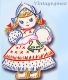 1950s VTG Vogart Embroidery Transfer 272 Little Dutch Girl DOW Tea Towels Uncut
