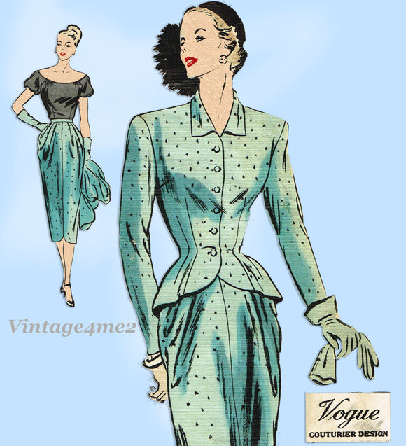Vogue Couturier 328: 1940s Rare Misses Suit & Blouse 34B Vintage Sewing Pattern