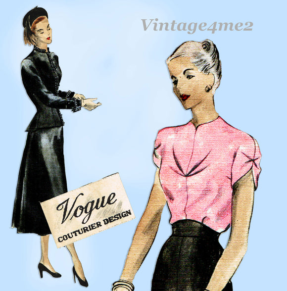 Vogue Couturier 380: 1940s Rare Misses Suit & Blouse 34B Vintage Sewing Pattern
