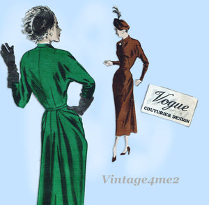 Vogue Couturier 404: 1940s Rare Designer Dress Size 34 B Vintage Sewing Pattern