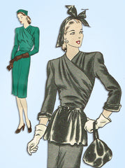 1940s Original Vintage Vogue Sewing Pattern 5256 Misses WWII Dinner Dress Sz 32B