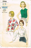1950s Vintage Vogue Sewing Pattern 5946 Uncut Misses Button Blouse Size 12 32B
