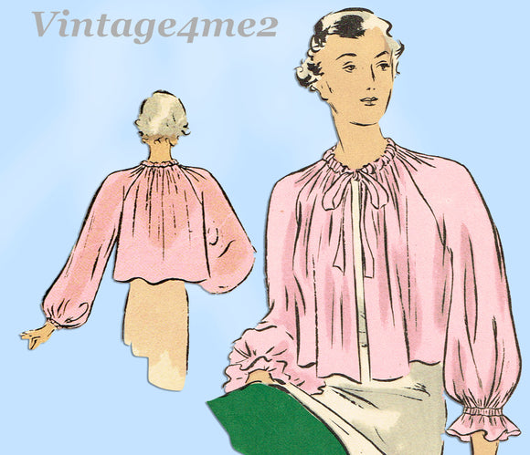 Vogue 7177: 1930s Charming Misses Bedjacket Sz Medium Vintage Sewing Pattern