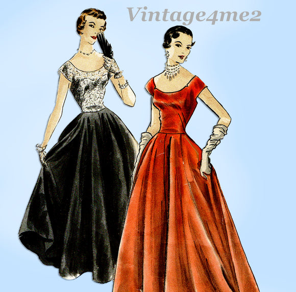 Vogue 7200: 1950s Stunning Misses Evening Gown Sz 32 Bust Vintage Sewing Pattern