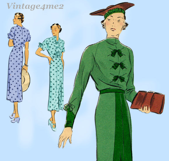 Vogue 7209: 1930s Stunning Women's Street Dress Size 36 B Vintage Sewing Pattern