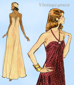 Vogue 8724: 1970s Very Easy Vogue Sexy Disco Dress Sz 10 Vintage Sewing Pattern