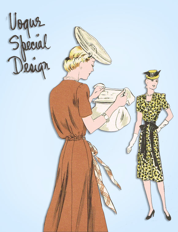 1930s Vintage Vogue Special Design Sewing Pattern S-4226 Uncut Misses Dress 32 B - Vintage4me2