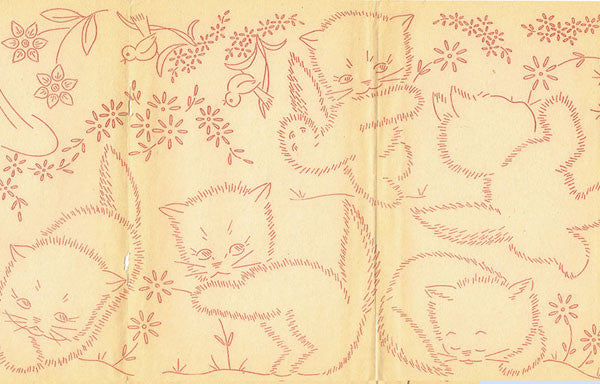 1950s Workbasket Redline Embroidery Transfer #43 Darlin Sweet Perky Kitty Uncut