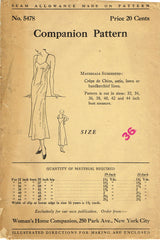 1930s Original Vintage Woman's Home Companion Pattern 5478 Misses Slip Sz 36 B