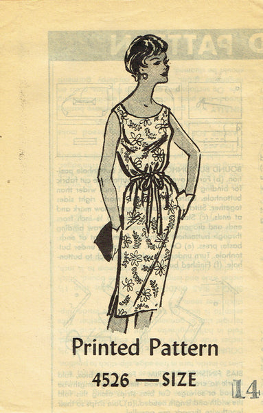 1960s Vintage Anne Adams Sewing Pattern 4526 Uncut Misses Sheath Dress Size 34 B