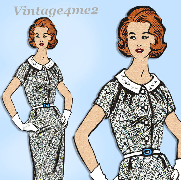 Anne Adams 4573: 1960s Misses Day Dress Sz 36 Bust Vintage Sewing Pattern