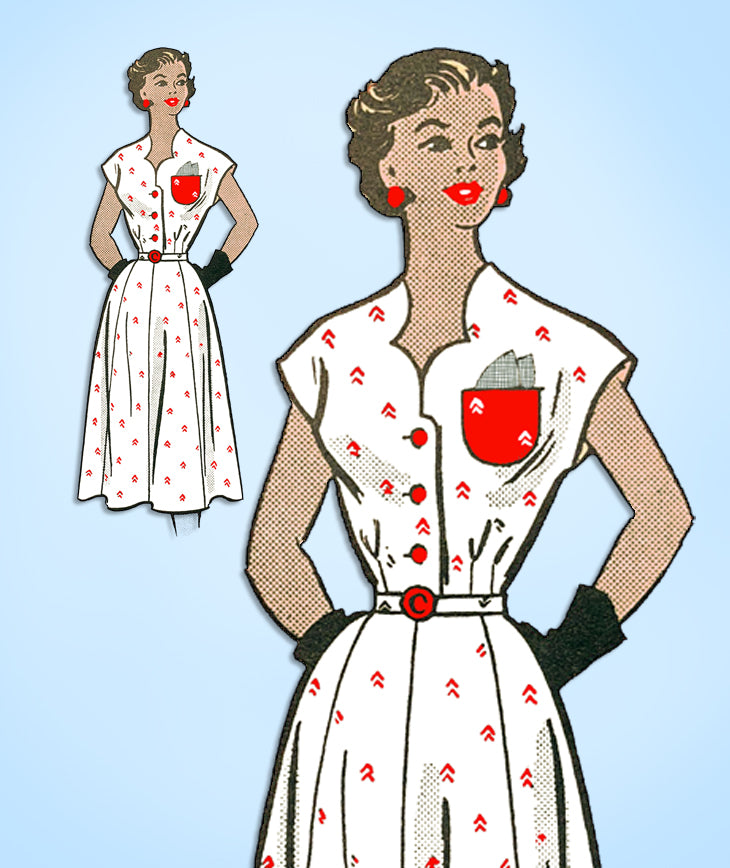 1950s Original Vintage Anne Adams Pattern 4574 Uncut Misses Street Dress Sz 36 B