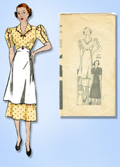 1930s Vintage Anne Adams Sewing Pattern 4575 Misses Dress w Button On Apron 36B