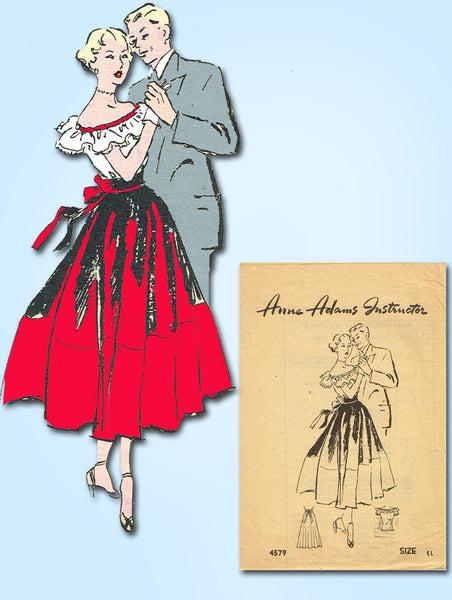 1940s Vintage Anne Adams Sewing Pattern 4579 Misses Skirt and Blouse Size 29 B - Vintage4me2