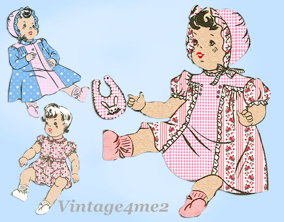 Anne Adams 4580: 1940s Cute 20 Inch Doll Clothes Set Vintage Sewing Pattern