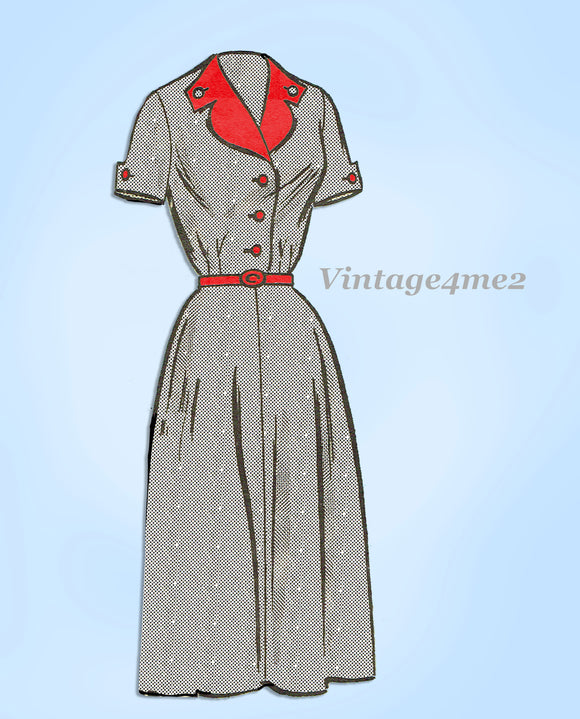Anne Adams 4611: 1950s Misses Street Dress Sz 35 B Vintage Sewing Pattern