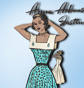 1950s Vintage Anne Adams Sewing Pattern 4613 Misses Sun Dress and Collars Sz 38B