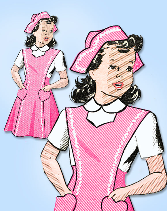 1940s Vintage Anne Adams Sewing Pattern 4626 Girls Candy Striper Jumper & Hat 12