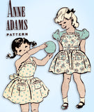 1940s Vintage Anne Adams Sewing Pattern 4638 Toddler Girls Dress & Pinafore Sz 6