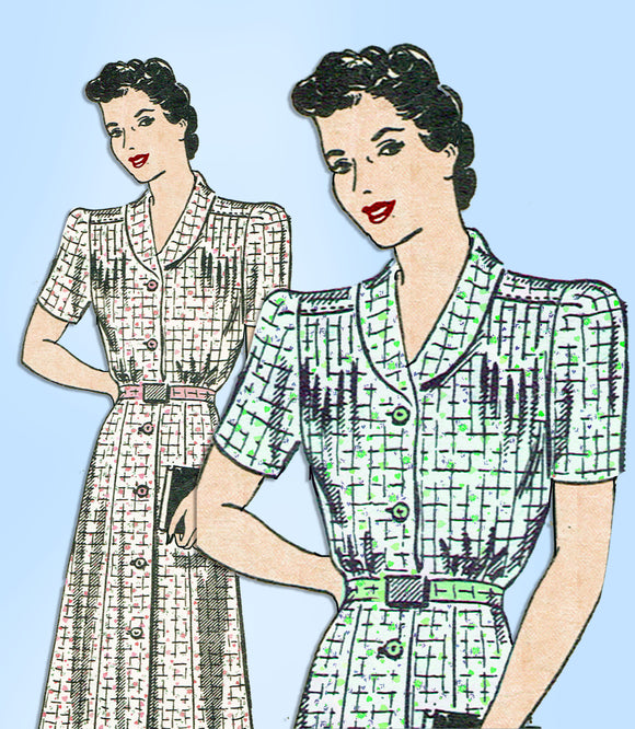 Anne Adams 4650: Vintage Sewing Pattern Plus Size WWII Dress Sz 42 Bust vintage4me2