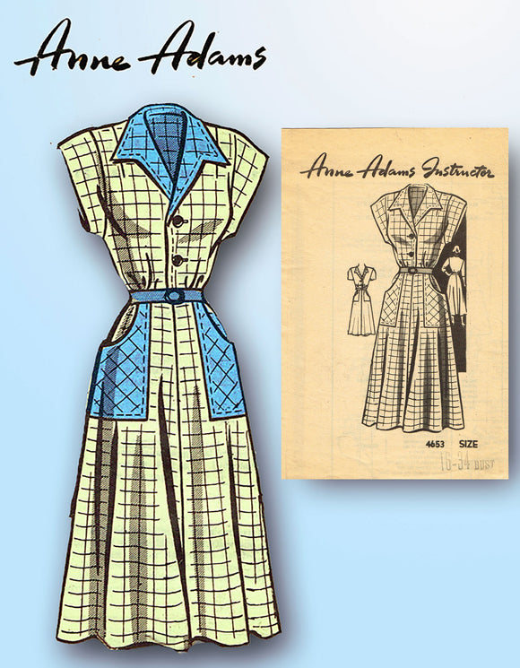 1940s Vintage Anne Adams Sewing Pattern 4653 Misses Shirtwaist Dress Size 16