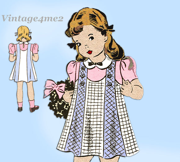 Anne Adams 4658: 1930s Toddler Girls Jumper Dress Size 6 Vintage Sewing Pattern