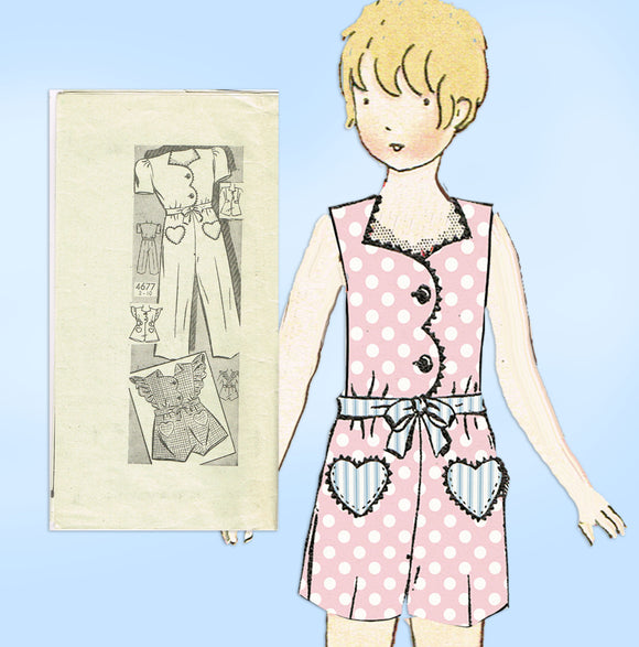 Anne Adams 4677: 1940s Girls Romper or Coveralls Size 8 Vintage Sewing Pattern - Vintage4me2