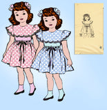 Anne Adams 4719: 1940s Toddler Girls Scalloped Dress Sz 4 Vintage Sewing Pattern - Vintage4me2