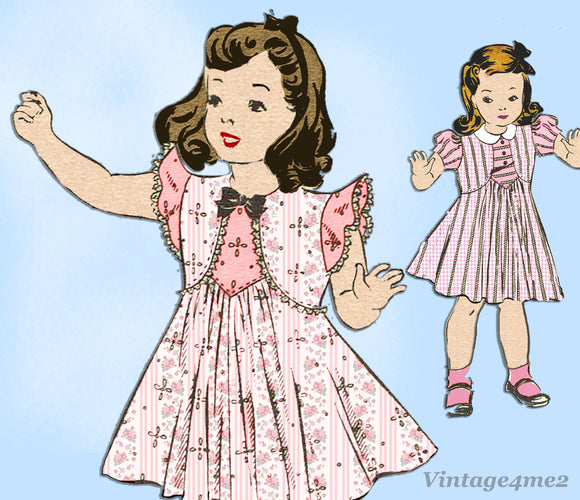 Anne Adams 4720: 1930s Sweet Toddler Girls Dress Size 2 Vintage Sewing Pattern