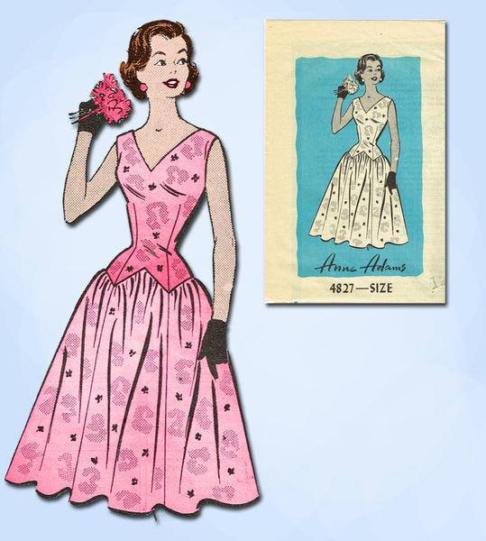 1950s Vintage Anne Adams Sewing Pattern 4827 Uncut Misses Party Prom Dress 30B