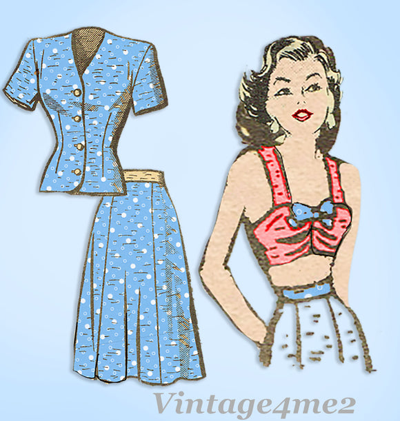 Anne Adams 4886: 1950s Misses Suit w Bra Top Sz 38 Bust Vintage Sewing Pattern