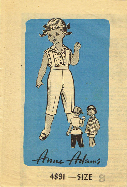1950s Vintage Anne Adams Sewing Pattern 4891 Little Girls Play Clothes Size 8
