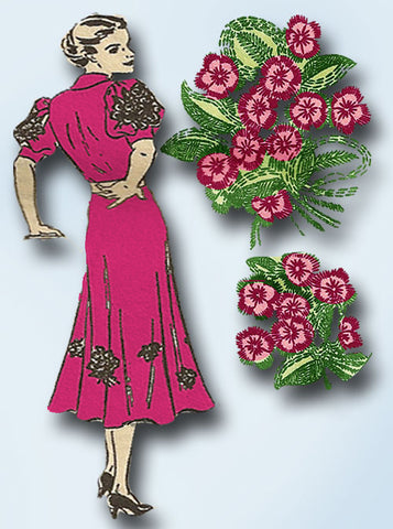 1940s Alice Brooks Embroidery Transfer 5801 Uncut Flower Motifs Dress Trims ORIG