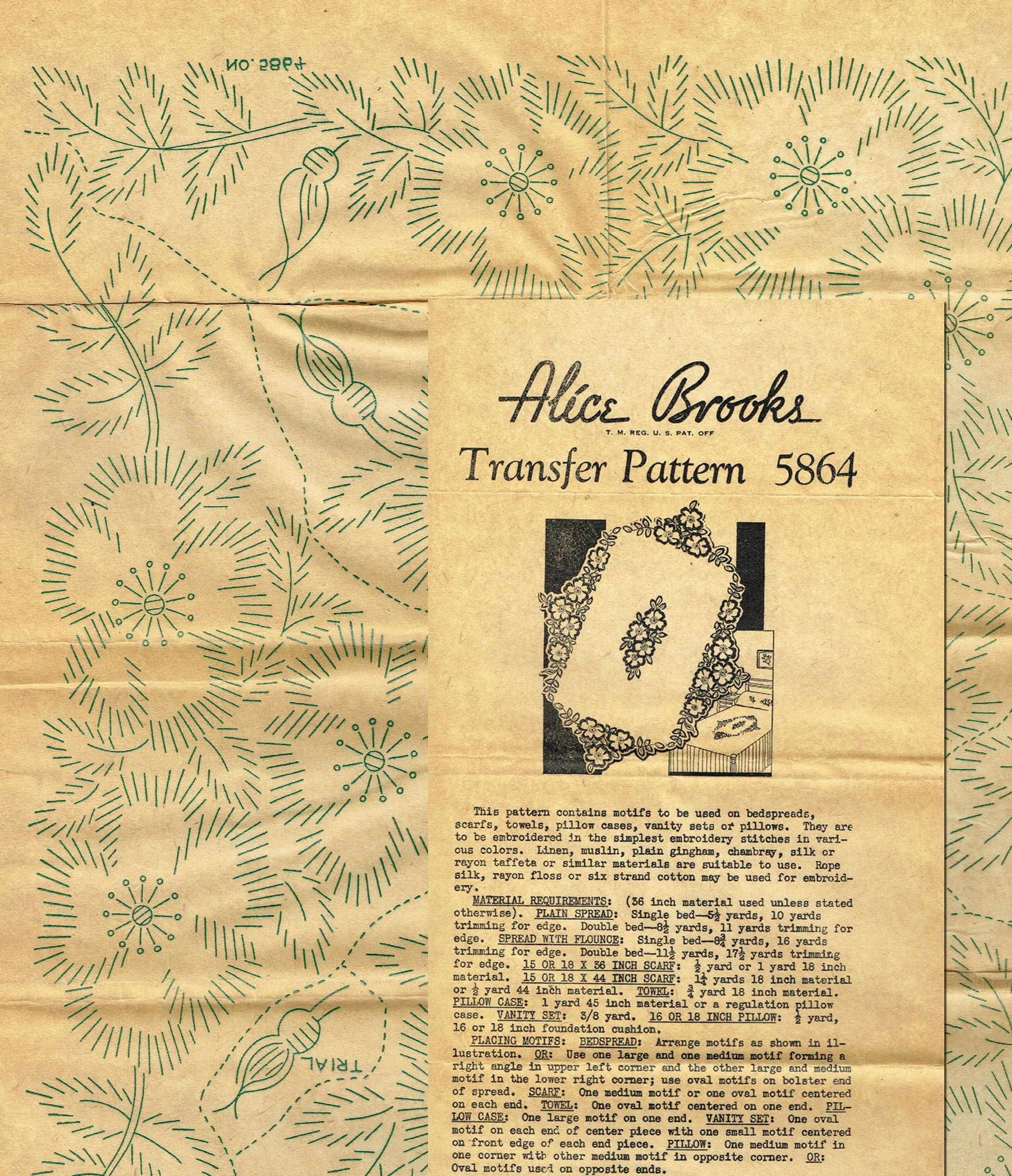 1940s Uncut Alice Brooks Floral Bedspread Hot Iron Embroidery