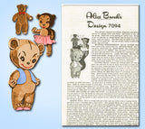 1950s Vintage Alice Brooks Sewing Pattern 7094 Uncut 3 Bears Sock Dolls Original