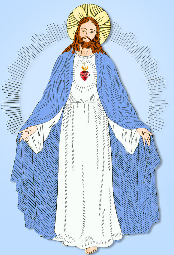 1940s Vintage Alice Brooks Embroidery Transfer 7181 Uncut Sacred Heart of Jesus