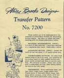 1950s Alice Brooks Embroidery Transfer 7200 Uncut DOW Sun Bonnet Sue Tea Towels