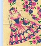 1950s Four Color Vintage Textilprint 7230 Garden Gal Uncut No Sew Transfer