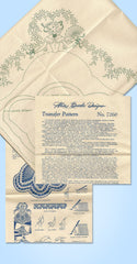 1940s Vintage Alice Brooks Embroidery Transfer 7260 Uncut Garden Gal Pillowcases