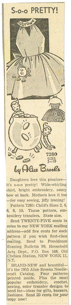 1950s Vintage Alice Brooks Transfer Pattern 7280 Girls Dress Pot O Gold Pocket 8