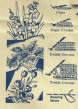 1940s Alice Brooks Embroidery Transfer 7392 Uncut Flower Basket Crochet Cases
