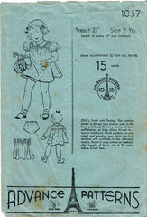 1930s Vintage Advance Sewing Pattern 1057 Baby Girls Bloomer Dress Size 2 21 B - Vintage4me2
