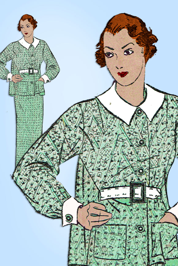 Advance 1227: 1930s Misses 2 Piece Dress Size 32 Bust Vintage Sewing Pattern - Vintage4me2
