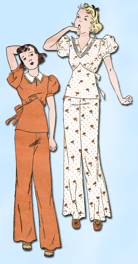 1930s Vintage Advance Sewing Pattern 1347 Misses Lounging Pajamas Size 20 38B - Vintage4me2