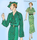 Advance 1523: 1930s Plus Size Advance Dress Size 44 Bust Vintage Sewing Pattern
