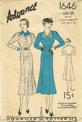 1930s Original Vintage Advance Pattern 1646 Misses Dress w Raglan Sleeves Sz 38B