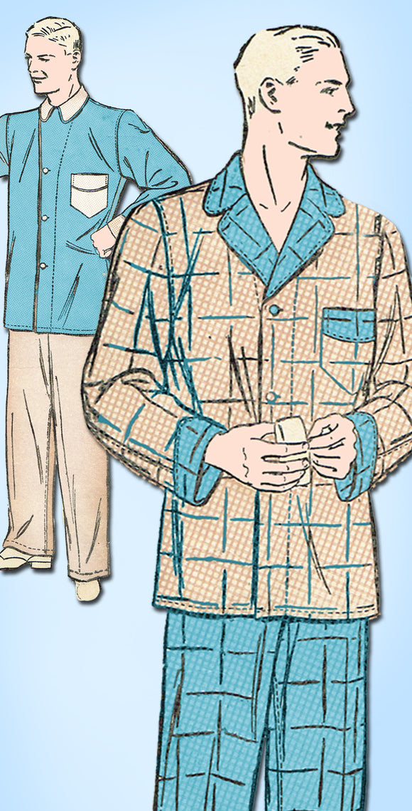1930s Vintage Advance Sewing Pattern 2141 Men's WWII Pajamas Size 38 Chest - Vintage4me2
